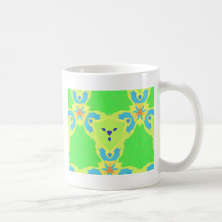Lime Green Blue Abstract Bear Face Fractal Pattern Coffee Mug