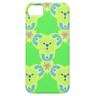 Lime Green Blue Abstract Bear Face Fractal Pattern iPhone SE/5/5s Case