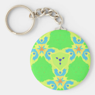Lime Green Blue Abstract Bear Face Fractal Pattern Keychain