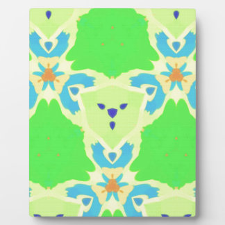 Lime Green Blue Abstract Bear Face Fractal Pattern Plaque