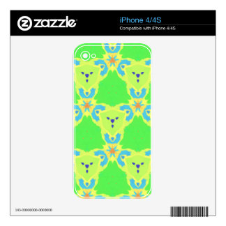 Lime Green Blue Abstract Bear Face Fractal Pattern Skins For iPhone 4S