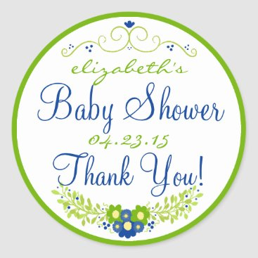Toddler & Baby themed Lime Green & Blue Baby Shower- Floral Classic Round Sticker