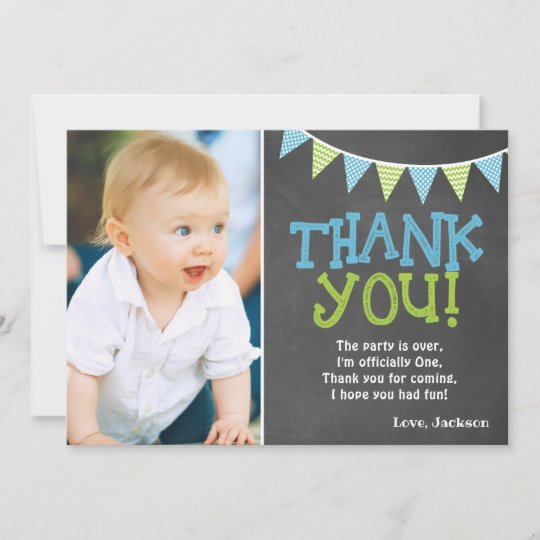 Chalk Bunting Football Blue Party Thank You Cards