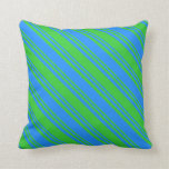 [ Thumbnail: Lime Green & Blue Colored Lines Throw Pillow ]