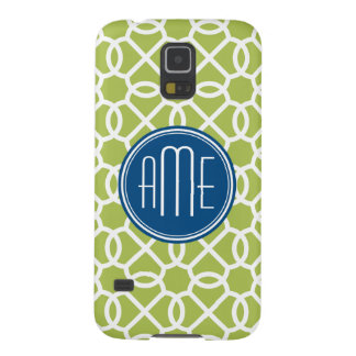 Lime Green & Blue Geometric Pattern Monograms Galaxy S5 Case