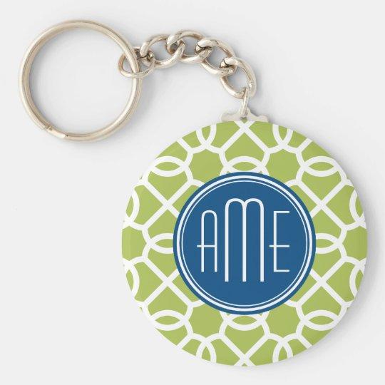 Lime Green & Blue Geometric Pattern Monograms Keychain