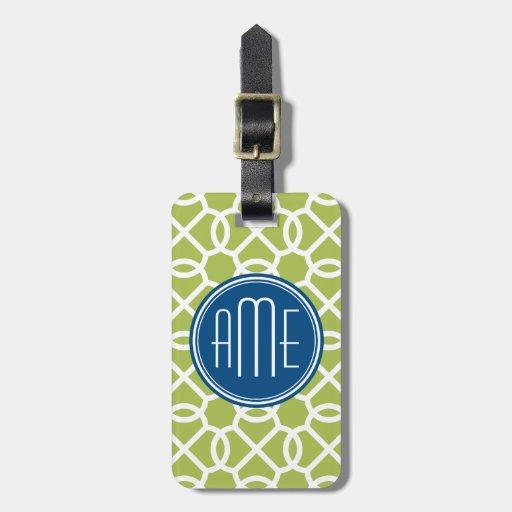 Lime Green & Blue Geometric Pattern Monograms Travel Bag Tags