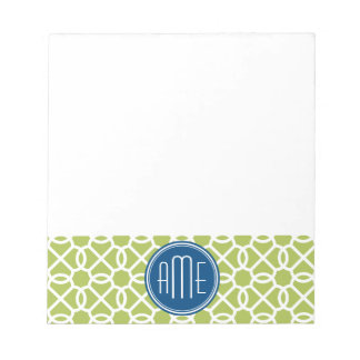 Lime Green & Blue Geometric Pattern Monograms Note Pad