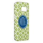 Lime Green & Blue Geometric Pattern Monograms Samsung Galaxy S7 Case