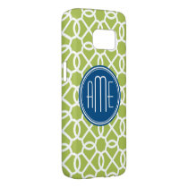 Lime Green & Blue Geometric Pattern Monograms Samsung Galaxy S7 Case