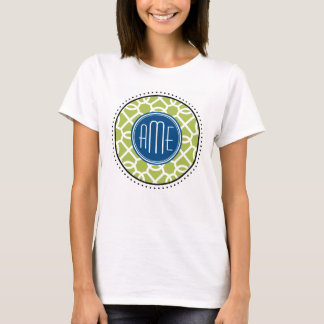 Lime Green & Blue Geometric Pattern Monograms T-Shirt