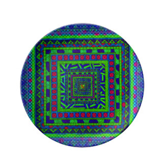 Lime Green Blue Red Aztec Tribal Squares Pattern Porcelain Plates