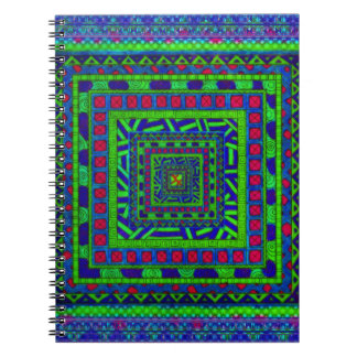 Lime Green Blue Red Aztec Tribal Squares Pattern Notebook
