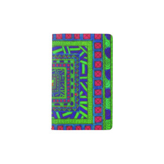 Lime Green Blue Red Aztec Tribal Squares Pattern Pocket Moleskine Notebook