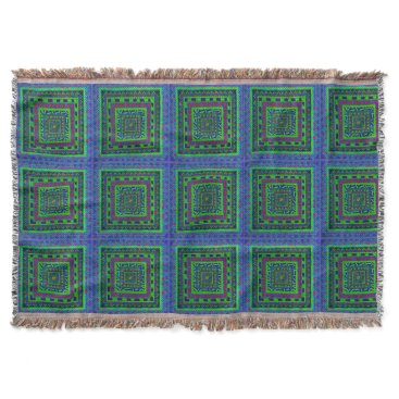Aztec Themed Lime Green Blue Red Aztec Tribal Squares Pattern Throw Blanket