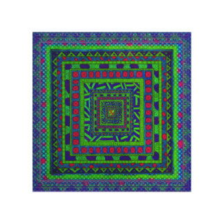 Lime Green Blue Red Aztec Tribal Squares Pattern Wood Print