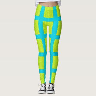 Lime Green Blue Square Pattern Yoga Pants Leggings
