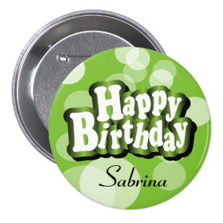 Lime Green Bokeh Birthday Design Button