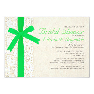 Lime Green Bow & Lace Bridal Shower Invitations