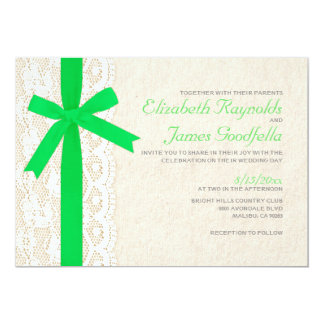 Lime Green Bow & Lace Wedding Invitations