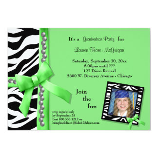 Lime Green Bow With Pearls And White Zebra Stripes 5x7 Paper Invitation Card