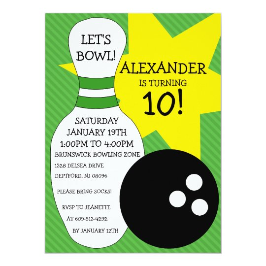 Lime Green Bowling Bash Bowling Birthday Party Card