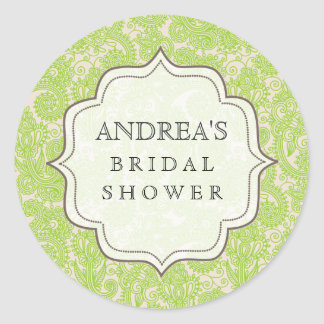 Lime Green Bridal Shower Dessert Table Tag Label Classic Round Sticker