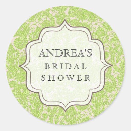 Lime Green Bridal Shower Dessert Table Tag Label Sticker