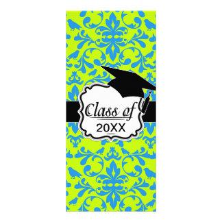 lime green bright blue bird damask graduation full color rack card