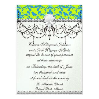 lime green bright blue bird damask pattern card