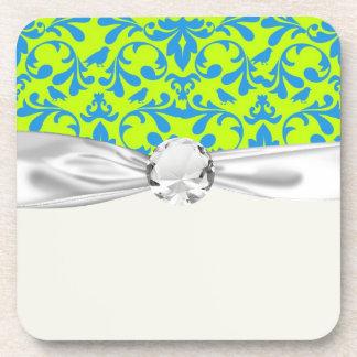lime green bright blue bird damask pattern drink coaster