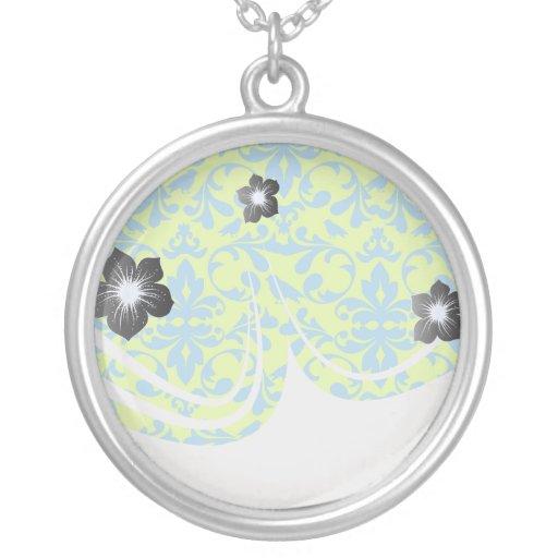lime green bright blue bird damask pattern necklace