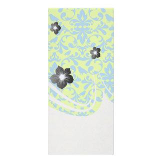 lime green bright blue bird damask pattern rack card template