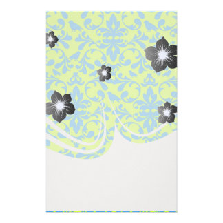 lime green bright blue bird damask pattern stationery paper