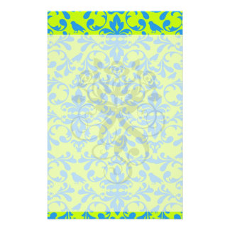 lime green bright blue bird damask pattern customized stationery