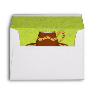 Lime Green & Brown Coffee Cups Customizable Envelope