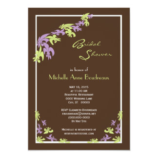 Lime Green Brown Fleur de Lis Modern Bridal Shower Card