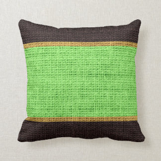 Lime Green & Brown Rustic Burlap Jute Background Throw Pillow