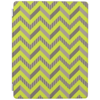 Lime Green Brown Striped Chevron Pattern iPad Cover