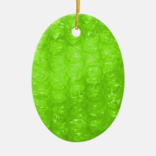 Lime Green Bubble Wrap Effect Ornaments