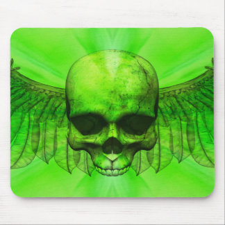 Lime Green Burst Winged Skull Mouse Pad