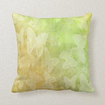 Beach Themed Lime Green Butterfly Accent Throw Pillow