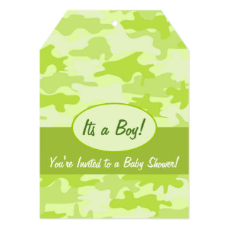 Lime Green Camo Camouflage Boy Baby Shower Card