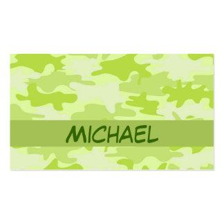 Lime Green Camo Camouflage Custom Business Card