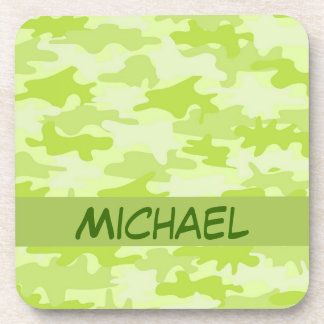 Lime Green Camo Camouflage Custom Drink Coaster