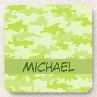 Lime Green Camo Camouflage Custom Drink Coaster