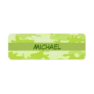Lime Green Camo Camouflage Custom Return Address Labels