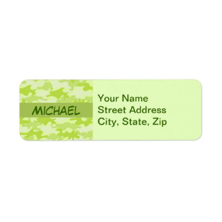 Lime Green Camo Camouflage Custom Labels