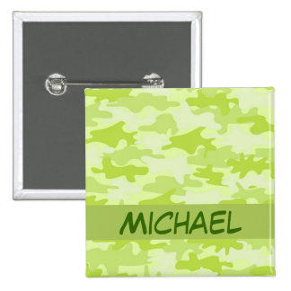 Lime Green Camo Camouflage Custom Pinback Button