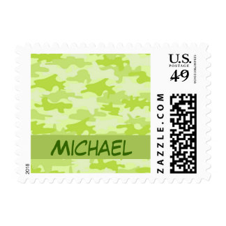 Lime Green Camo Camouflage Custom Stamp